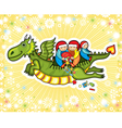 green flying dragon with children vector image