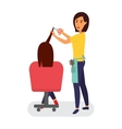 Hairdresser making haircut Hair stylist in a vector image