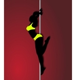 Pole dancer in bright yellow clothes sexy vector image
