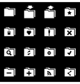 white folder icon set vector image