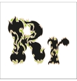 fiery font black and green letter R on white vector image