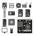 Set of computer hardware icons vector image vector image
