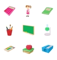 Schooling icons set cartoon style vector image