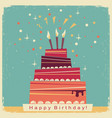 birthday sweet cakeretro card on old paper vector image vector image