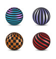 set of glossy colored balls with strip and square vector image vector image