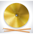 brass cymbals and drumsticks vector image vector image