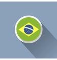 Brazil flag button icon vector image