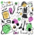 A set of things girl drawing pen vector image