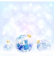 Blue Christmas balls with floral ornament vector image