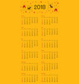 calendar 2018 cross stitch dog starts on sunday vector image