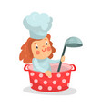 cute cartoon little girl chef character sitting in vector image