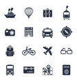 digital black travel icons vector image