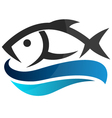 Fish on waves vector image