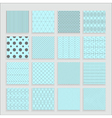 Set of 16 abstract geometric blue patterns vector image
