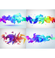 set of faceted 3d crystal colorful shapes vector image