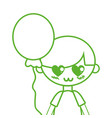 silhouette cute boy with balloon and hairstyle vector image