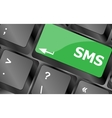 Social media key with sms text on laptop keyboard vector image