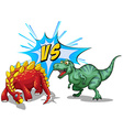 Two dinosaurs fighting on white vector image