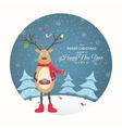 Xmas card deer winter evening landscape cutout vector image