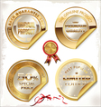 Set of golden PREMIUM quality labels vector image vector image