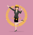 business woman with golden wreath vector image