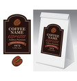 paper packaging with label for coffee bean vector image vector image