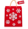 Red Christmas shopping bag with paper snowflakes vector image vector image