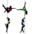 Four Pole dancers sexy silhouettesThe vector image