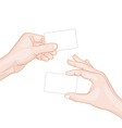 hand hold a blank card vector image vector image
