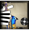 blue saxophone and piano keys in the form of vector image