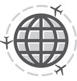 Airplane icon around the world vector image