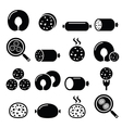 Black pudding sausage haggis white pudding icons vector image