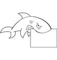 Cartoon shark holding a sign vector image