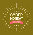 cyber monday logo design big sale event flyer vector image