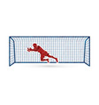 goalkeeper jumping action catches the ball vector image