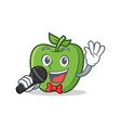 karaoke green apple character cartoon vector image