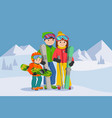 man woman boy skiing in snow mountain family vector image