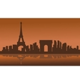 Silhouette of eiffel tower with brown background vector image