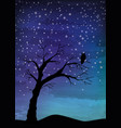 the old tree and the bird on the night sky vector image