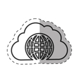 cloud globe connected technology thin line vector image