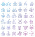 thin line insects icons set color stroke outline vector image vector image
