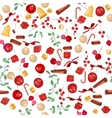 Seamless Christmas pattern with fruits vector image