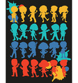 Silhouette boys and girls vector image