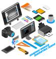 Graphic Design Isometric Icons Set vector image