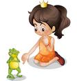 Frog and princess vector image