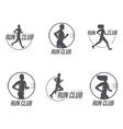 Set of running club logo templates vector image