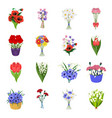 a bouquet of fresh flowers cartoon icons in set vector image