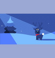 a night winter scene with a deer in the moonlight vector image