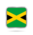 flag of Jamaica shiny metallic gray square button vector image