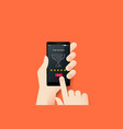 hand holding smartphone with conceptual top rated vector image